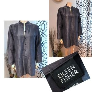 EILEEN FISHER long jacket Asian knotted buttons
